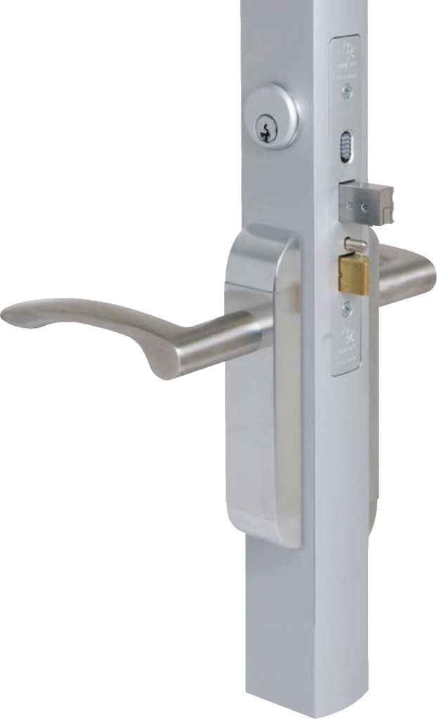 "Adams Rite 2190-311-101-32D Dual Force Interconnected Deadbolt/Deadlatch, 1-1/8"" BS, Standard Flat Strike with Curve Lever Trim Satin Stainless Ste..."